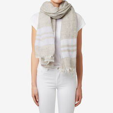 Border Stripe Scarf  GREY/ LAVENDER  hi-res