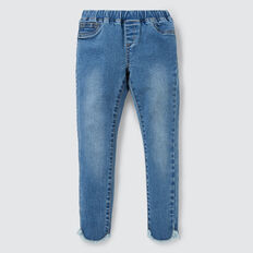 Curved Hem Jeans  WASHED BLUE  hi-res