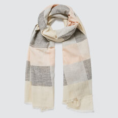 Stitched Check Scarf  CREAM  hi-res