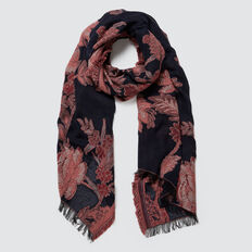 Rose Jacquard Scarf  NAVY MULTI  hi-res