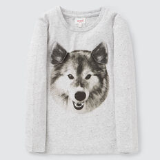 Novelty Wolf Tee  CLOUDY MARLE  hi-res