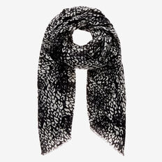 Two Tone Leopard Scarf  BLACK/WHITE  hi-res