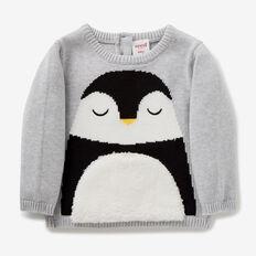 Penguin Intarsia Knit  FOG GREY MARLE  hi-res