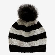 Stripe Knit Beret  BLACK/ GREY  hi-res