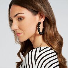Ball Hoop Earrings  BLACK  hi-res