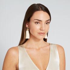 Ring Tassel Earrings  GOLD/CREAM  hi-res