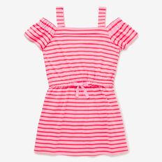 Stripe Open Shoulder Dress  PINK LEMONADE  hi-res