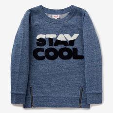 Slogan Zip Sweater  SKI BLUE MARLE  hi-res
