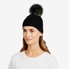 Pom Pom Cable Beanie  BLACK  hi-res