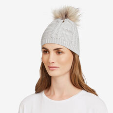 Pom Pom Cable Beanie  GREY MARLE  hi-res