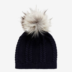 Pom Pom Cable Beanie  NAVY  hi-res