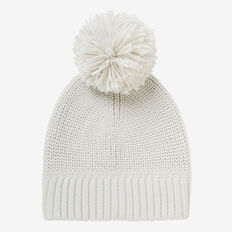 Simple Knit Pom Pom Beanie  SNOW MARLE  hi-res