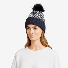 Bobble Knit Beanie  NAVY MULTI  hi-res