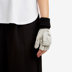 Two-Tone Mittens  BLACK/ GREY  hi-res