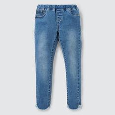 Curved Hem Jeans  WASHED BLUE  hi-res