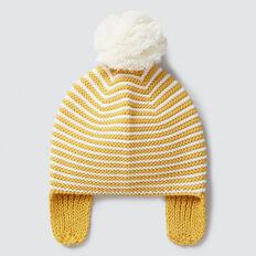 Pom Pom Stripe Knit Beanie  SAFFRON  hi-res