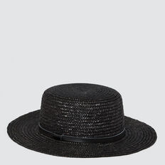Straw Boater  BLACK  hi-res