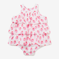 Strawberry Yardage Tiered Romper  ICE PINK  hi-res