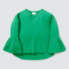 Frill Sleeve Rib Sweater  APPLE GREEN  hi-res