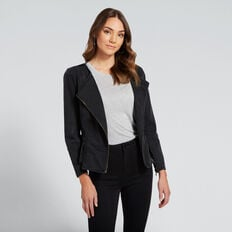 Asymmetric Peplum Jacket  WASHED BLACK  hi-res