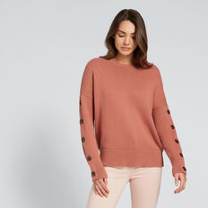 Button Sleeve Sweater  TERRACOTTA  hi-res