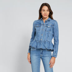 Ruffle Hem Denim Jacket  CLASSIC DENIM  hi-res