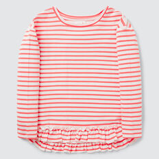 Stripe Frill Tee  CORAL BLUSH  hi-res