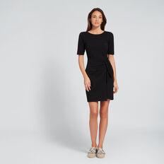 Knot Front Dress  BLACK  hi-res