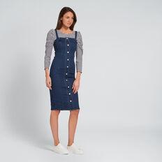 Button Down Denim Dress  DEEPEST BLUE WASH  hi-res
