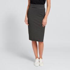 Longline Ponte Skirt  BLACK/WHITE STRIPE  hi-res