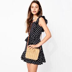Spot Linen Dress  BLACK  hi-res