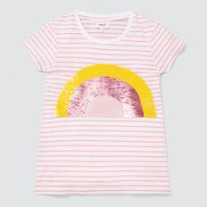 Rainbow Sequin Tee  MUSK PINK/WHITE  hi-res