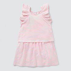 Double Layer Stripe Dress  MUSK PINK/WHITE  hi-res