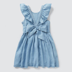 Cross Back Frill Dress  SOFT BLUE WASH  hi-res