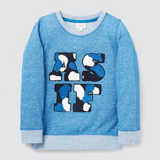 As If Chenille Sweater  BRIGHT SKY MARLE  hi-res