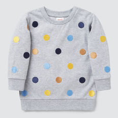 Embroidered Spot Sweater  CLOUDY MARLE  hi-res