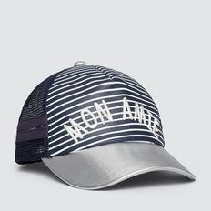 Stripe Mon Amie Cap  NAVY  hi-res