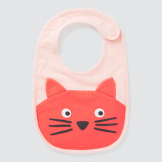 Novelty Cat Bib  CORAL RED  hi-res