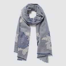 Floral Print Scarf  STONE BLUE  hi-res