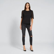 Curved Hem Jean  CHARCOAL DENIM  hi-res