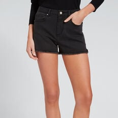 Fray Hem Denim Short  WASHED BLACK  hi-res