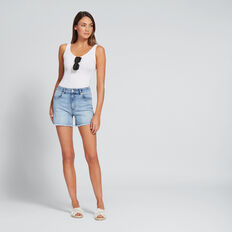 High Waist Denim Frayed Short  LIGHT WASH DENIM  hi-res