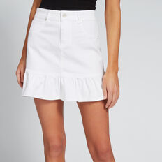 Ruffle Hem Denim Skirt  WHITE  hi-res