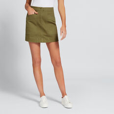 Stitch Detail Denim Skirt  OLIVINE  hi-res