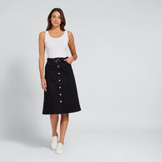 Longline Denim Skirt  BLACK  hi-res