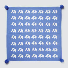 Elephants Jacquard Blanket  BRIGHT BLUEBELL  hi-res