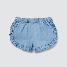 Chambray Frill Shorts  LIGHT BLUE WASH  hi-res