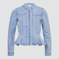 Peplum Denim Jacket  BRIGHT WASH  hi-res