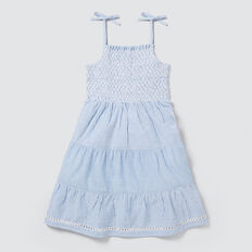 Stripe Tiered Dress  POWDER BLUE  hi-res