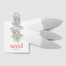 Feather Glitter Duck Clip  SILVER  hi-res